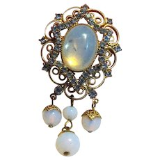 Renaissance Revival Pendant w/ Rhinestones & Opaline Glass Droplets