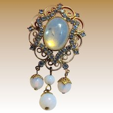 Renaissance Revival Pendant w/ Rhinestones & Opaline Glass Droplets