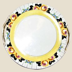 Art Deco Noritake Double Handle Cake Plate w/ Black & Yellow Floral Edge