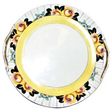 Art Deco Noritake Double Handle Cake Plate w/ Black & Yellow Floral Edge