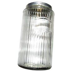 Vintage Ribbed Glass Canister / Storage Jar with Tin Lid