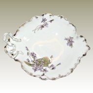 Austrian Art Nouveau Hand Painted Leaf Shaped Candy Dish with Violets