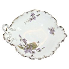 Austrian Art Nouveau Hand Painted Leaf Shaped Candy Dish with Violets