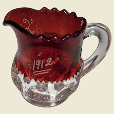 "Engraved ""Ella 1912"", EAPG Ruby Pitcher"