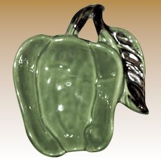 Vintage Green Pepper Ceramic Spoon Rest or Candy Dish, Shawnee Pottery