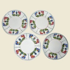 "Four Vintage Herend Hungary Village Pottery Salad Plates 8"" Flower Décor. Hand Painted, Mint"
