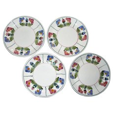 """Four Vintage Herend Hungary Village Pottery Salad Plates 8"""" Flower Décor. Hand Painted, Mint"""