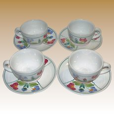 Four Vintage Cups & Saucers, Village Pottery Herend Hungary, Hand Painted Flower Décor. Mint