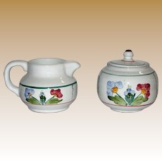 Village Pottery Herend Hungary Hand-Painted Cream Pitcher & Sugar Bowl, Flower Design, Mint
