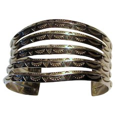 Hand Tooled Sterling Silver Native American Gate Cuff, 54 grams
