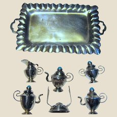 7 Piece Mexican Sterling Miniature Tea & Coffee Set w/ Turquoise Finials, 36 grams