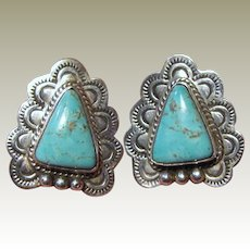 Navajo P FNE Sterling Kingman Turquoise Earrings