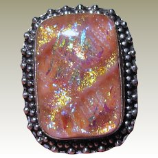 Sterling & Pink Foiled Dichroic Art Glass Ring Size 9