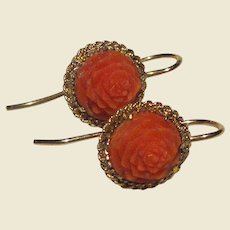Victorian 9k Gold Hand Carved Coral Dainty Earrings