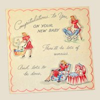 Vintage 1940's New Baby Card, Congratulations to you on your New Baby, Unused, Nearly New