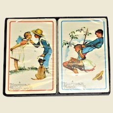 Vintage Norman Rockwell Hoyle Playing Cards, Original Box, Sealed Cards, Like New