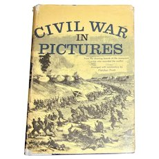 "1955 Military Book ""Civil War in Pictures"" by Fletcher Pratt HCDJ"