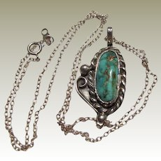 "Rob Livingston Navajo Sterling & Turquoise Pendant on Fine 18"" Chain"