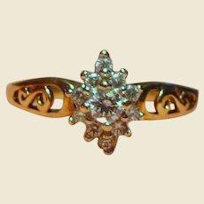 Beautiful 10k Gold & Faux Diamond Traditional Engagement Ring, Sz 8