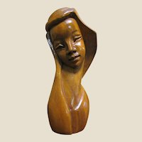 "Hand Carved 10"" Hard Wood Sculpture of Woman from the Philippines"