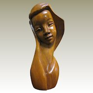 """Hand Carved 10"""" Hard Wood Sculpture of Woman from the Philippines"""