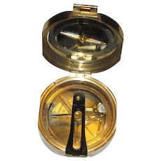 Stanley Brass Nautical Compass, Natural Sine, Near Mint