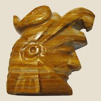 Hand Carved Onyx Sculpture, Bust of Aztec Warrior