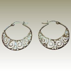 Delicate Sterling Filigree Half Hoop Earrings, 3.5 grams