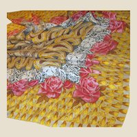 "Huge 40"" Square Sanded Silk Rose Scarf"
