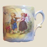 Miniature Antique Porcelain Portrait Child's Cup, Ring O Roses!