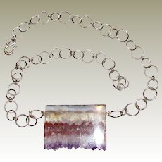Hand Made Cut Geode & Sterling Silver Necklace