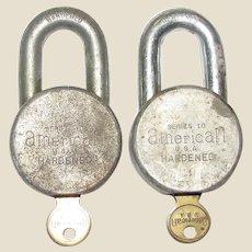 Two Vintage American Lock Co. Series 10 Padlocks, USA, Hardened