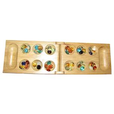 Wooden Folding Mancala Game Board, with Glass Pieces, Travel, Near Mint