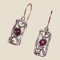 Garnet & Sterling Filigree Drop Earrings