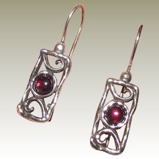 Garnet & Sterling Filigree Drop Earrings