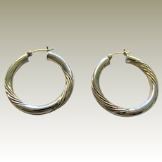 "1 1/8"" Sterling Silver Bright Cut Thick Hoop Earrings"