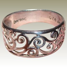 Delicate Sterling Filigree Ring Size 7