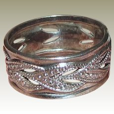 Sterling Foliate Band Ring Size 6