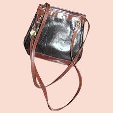 Vintage Brahmin Black & Brown Leather Shoulder Bag