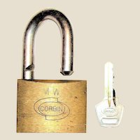 Vintage Corbin Brass Padlock, Made in Italy, Hardened Shackle