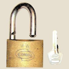 Vintage Corbin Brass Padlock, Made in Italy, Hardened Shackle