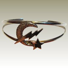 Sterling Star, Moon & Lightening Bolt Cuff Bracelet by Tazi