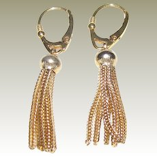 Art Deco Gold Fill Tassels w/ Sterling Vermeil Leverbacks
