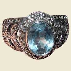 Sterling, Marcasite & Blue Topaz Filigree Ring Sz 8