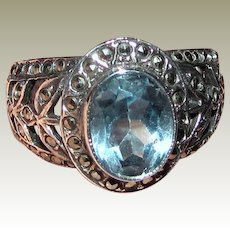 Sterling, Marcasite & Blue Topaz Filigree Ring Sz 8