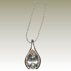 "HAN Sterling CZ Teardrop Pendant on 18"" Sterling Chain"