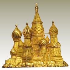 Jonette Gold-toned Pin of St. Basil's Cathedral, Moscow