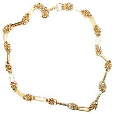 Vintage Couture GIVENCHY Logo Gold Tone Knot Necklace, Elegant!