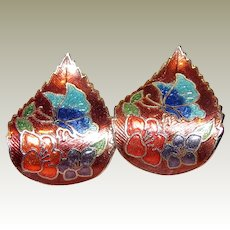Enameled Cloisonne Butterfly Earrings