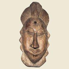 Vintage West African Hand Carved Wood Mask